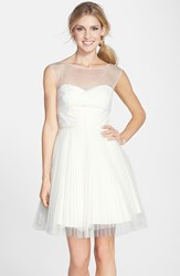Women's Monique Lhuillier Bridesmaids Illusion Yoke Tulle Fit And Flare Dress Ivory