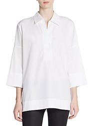 Escada Splitneck Cotton Tunic White