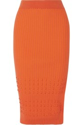 Opening Ceremony Ribbed Stretch Knit Pencil Skirt Orange