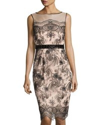 Brianna Embroidered Sequined Sheath Dress Dark Beige