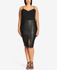 City Chic Trendy Plus Size Faux Leather Pencil Skirt Black