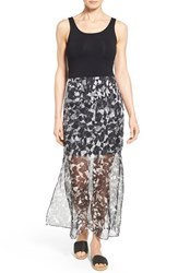 Women's Vince Camuto Print Chiffon Overlay Maxi Dress Rich Black
