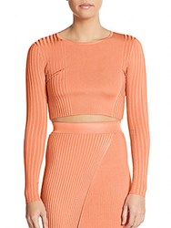 Torn By Ronny Kobo Laszlo Ribbed Knit Cropped Top Coral