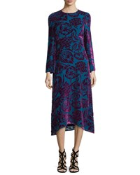 Etro Long Sleeve Velvet Midi Dress Purple Teal