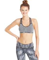Betsey Johnson Seamless Low Impact Racerback Sports Bra Charcoal Heather Grey