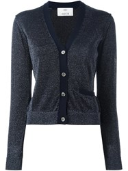 Allude Metallic Effect Cardigan Blue