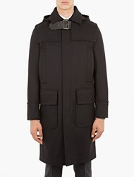 Valentino Black Wool Buckle Collar Duffle Coat