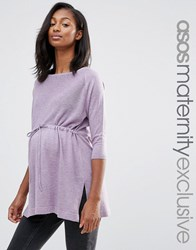 Asos Maternity Lounge Knitted Tunic With Drawstring Purple