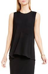 Vince Camuto Petite Women's Sleeveless Ruffle Front Top Rich Black