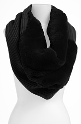 Lafayette 148 New York Genuine Rabbit Fur Trim Tube Scarf Black