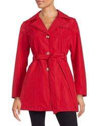 Larry Levine Semi Fitted Trench Coat Red