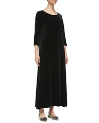 Joan Vass 3 4 Sleeve Velour Long Dress Black Women's