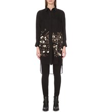 Allsaints Carin Amarey Floral Embroidered Shirt Black