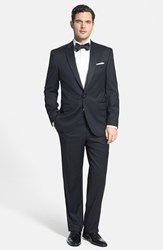 Men's Big And Tall David Donahue Classic Fit Loro Piana Wool Peak Lapel Tuxedo Free Next Day Shipping Black