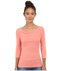 Three Dots 1X1 Cotton Modal 3 4 Sleeve Cowl Neck Capri Coral Women's Long Sleeve Pullover Pink