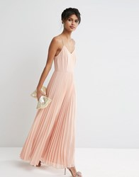 Asos Woven Cami Maxi Dress With Pleated Skirt Nude Pink