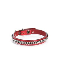 Gilbert Gilbert Red Cha2 Leather Bracelet With Chain