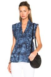 Thakoon Ruffle Top In Blue Ombre And Tie Dye