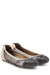 Hogan Leather Ballerinas With Glitter And Sequins Gold