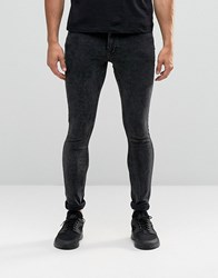 Antioch Spray On Skinny Jeans In Acid Wash Black