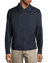 Brioni Leather Long Sleeve Jacket Blue