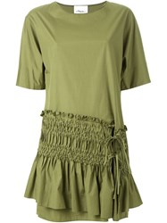 3.1 Phillip Lim Ruched Panel Shift Dress Green
