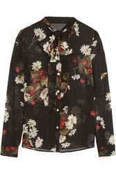 Red Valentino Pussy Bow Floral Print Silk Blend Chiffon Blouse