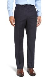 Santorelli Men's Flat Front Check Wool Trousers Dark Navy