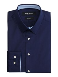 Kenneth Cole Men's Daven Slim Fit Shirt With Contrast Detail Navy