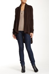 Colour Works Shawl Collar Open Front Cardigan Brown