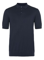 Topman Short Sleeve Smart Knitted Polo Dark Blue