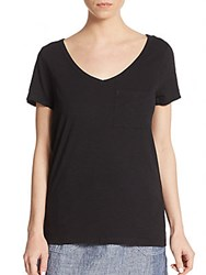 Saks Fifth Avenue V Neck Cotton Pocket Tee Black