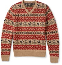 Rrl Patterned Wool Linen And Cotton Blend Sweater Brick