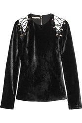 Antonio Berardi Cutout Lace Up Velvet Top Black
