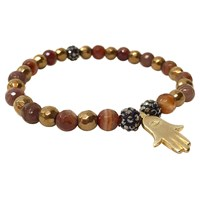Eye Of The Sea Gold Hematite Bracelet Gold Hematite Brown Agate Hamsa