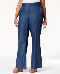 Melissa Mccarthy Seven7 Plus Size Navy Wash Flare Jeans