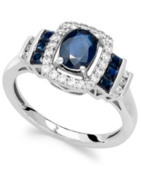 Macy's Sapphire 1 3 8 Ct. T.W. And Diamond 1 5 Ct. T.W. Ring In 14K White Gold Blue