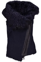 Karl Donoghue Asymmetric Shearling Lined Suede Vest Midnight Blue