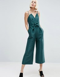 Asos Occasion Bonded Satin Jumpsuit Teal Green