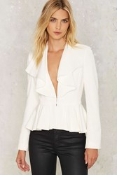 Do Me A Favor Ruffle Blazer White