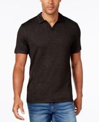 Alfani Men's Heather Open Collar Polo Only At Macy's Deep Black Combo