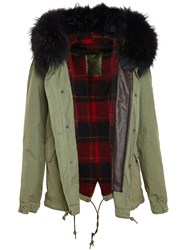 Mr And Mrs Italy Cropped Parka With Raccoon Fur Trim Green