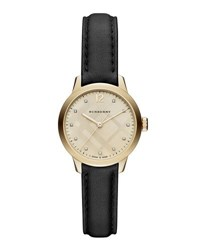 Burberry 32Mm Round Check Watch With Diamonds Gold