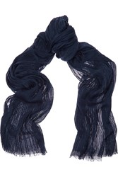 Tomas Maier Fortuny Stretch Wool Silk And Cashmere Blend Scarf Blue