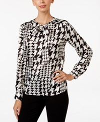 Kasper Charmeuse Houndstooth Print Tie Neck Blouse Black White