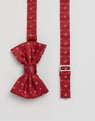 Asos Christmas Bow Tie With Present Design Red