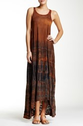 American Twist Slub Hi Low Maxi Dress Multi