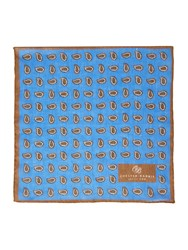 Chester Barrie Linen Paisley Pocket Square Blue