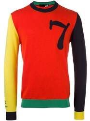 Love Moschino Colour Block Jumper Red