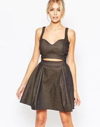 Hedonia Maria Skater Dress With Cut Out Detail In Denim Denim